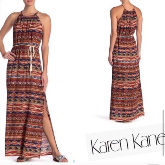 Karen Kane Dresses & Skirts - 🔥Karen Kane Halter Dress Maxi w Desert Colors 🤩